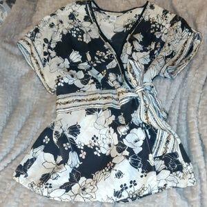 Whbm silk wrap blouse